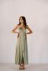 Фисташковое платье на запах из натурального шелка в прокат и аренду в Киеве. Фото 1