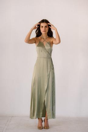 Фісташкова сукня з запахом з натурального шовку в прокат и oренду в Киiвi. Фото 2