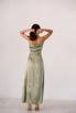 Фисташковое платье на запах из натурального шелка в прокат и аренду в Киеве. Фото 6