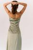 Фисташковое платье на запах из натурального шелка в прокат и аренду в Киеве. Фото 7