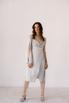 Серебряное платье на запах из натурального шелка с рукавом в прокат и аренду в Киеве. Фото 2