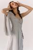 Серебряное платье на запах из натурального шелка с рукавом в прокат и аренду в Киеве. Фото 3