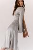 Серебряное платье на запах из натурального шелка с рукавом в прокат и аренду в Киеве. Фото 5