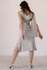 Серебряное платье на запах из натурального шелка с рукавом в прокат и аренду в Киеве. Фото 1
