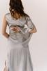 Серебряное платье на запах из натурального шелка с рукавом в прокат и аренду в Киеве. Фото 6