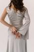 Серебряное платье на запах из натурального шелка с рукавом в прокат и аренду в Киеве. Фото 7