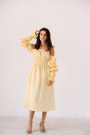 Лимонна сукня з льону з рукавом буф і драпіровками в прокат и oренду в Киiвi. Фото 2