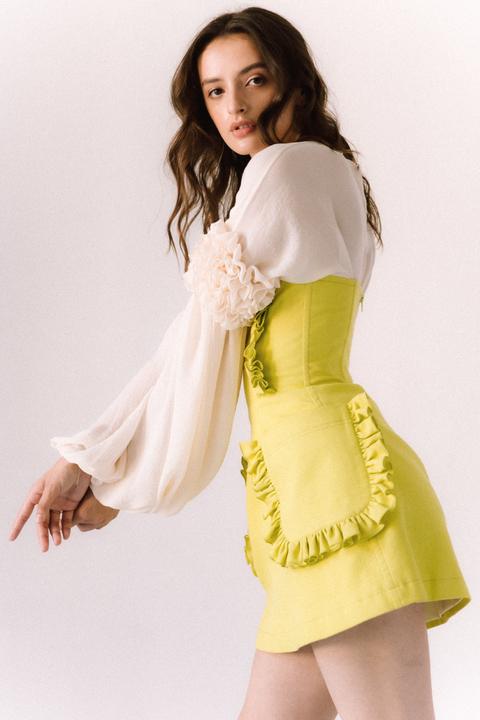 Платье-корсаж лаймового цвета