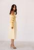 Лимонное платье из льна с рукавом буф и драпировками в прокат и аренду в Киеве. Фото 5