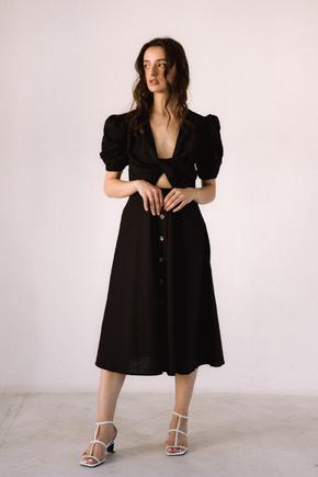 Чорна  сукня з льону з рукавом буф в прокат и oренду в Киiвi. Фото 1