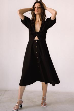Чорна  сукня з льону з рукавом буф в прокат и oренду в Киiвi. Фото 2