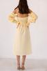 Лимонное платье из льна с рукавом буф и драпировками в прокат и аренду в Киеве. Фото 7