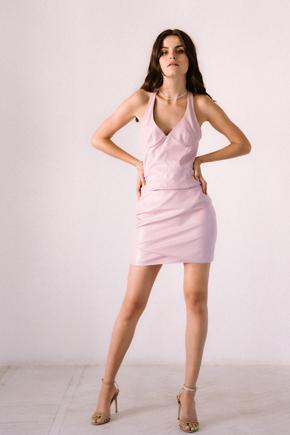 Сет з еко-шкіри рожевого кольору довжини міні в прокат и oренду в Киiвi. Фото 1