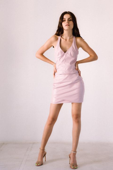 Сет из эко-кожи розового цвета длины мини