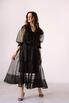 Черное комбинированное платье из органзы расшитое бисером в прокат и аренду в Киеве. Фото 1