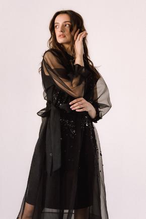 Чорне комбіноване плаття з органзи розшите бісером в прокат и oренду в Киiвi. Фото 2