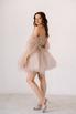 Короткое пышное платье мини песочного цвета с цветами в прокат и аренду в Киеве. Фото 4