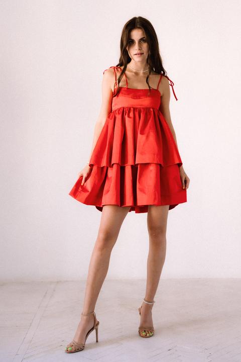 Красное платье мини из плотного хлопка свободного кроя
