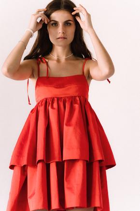 Червона сукня міні з бавовни вільного крою в прокат и oренду в Киiвi. Фото 2