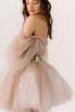Короткое пышное платье мини песочного цвета с цветами в прокат и аренду в Киеве. Фото 5