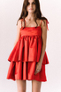Красное платье мини из плотного хлопка свободного кроя в прокат и аренду в Киеве. Фото 3