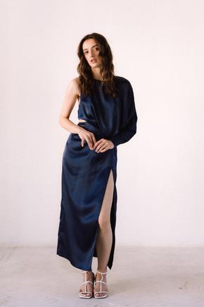 Синє шовкове плаття з асиметричним верхом і розрізом в прокат и oренду в Киiвi. Фото 2