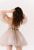 Короткое пышное платье мини песочного цвета с цветами в прокат и аренду в Киеве. Фото 7