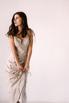 Бежевое платье миди с оборкой сбоку из тенсела в прокат и аренду в Киеве. Фото 3