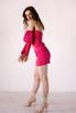 Малиновое платье длины мини со съёмными рукавами в прокат и аренду в Киеве. Фото 4
