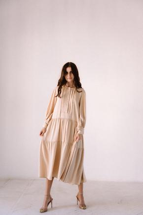 Бежеве вільне плаття з тенсела в прокат и oренду в Киiвi. Фото 2