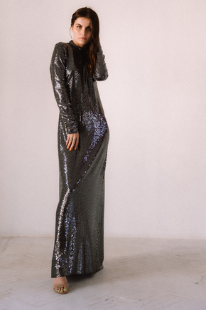 Блискуче плаття кольору мокрий асфальт з відкритою спиною в прокат и oренду в Киiвi. Фото 2