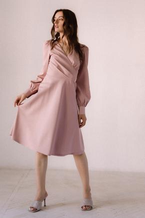 Рожева сукня з трикутним вирізом довжини міді в прокат и oренду в Киiвi. Фото 2