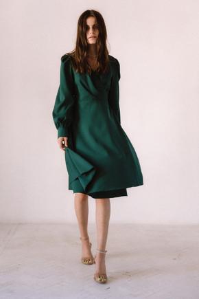 Темно зелена сукня міді в прокат и oренду в Киiвi. Фото 2