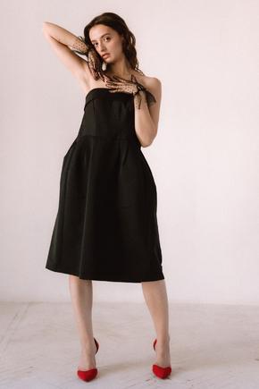 Плаття-бюст'є довжини міді чорного кольору в прокат и oренду в Киiвi. Фото 2