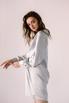 Серебряное шелковое платье мини с длинным рукавом и глубоким декольте в прокат и аренду в Киеве. Фото 3