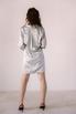 Серебряное шелковое платье мини с длинным рукавом и глубоким декольте в прокат и аренду в Киеве. Фото 5