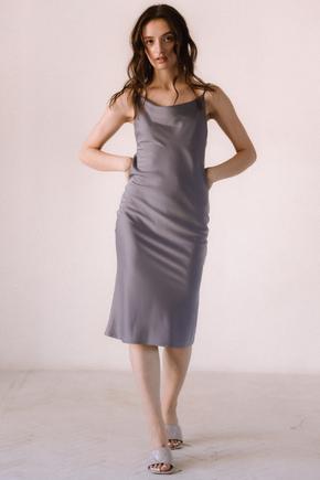 Сіра сукня комбінація з віскози з відкритою спиною в прокат и oренду в Киiвi. Фото 1