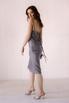 Серое платье комбинация из вискозы с открытой спиной в прокат и аренду в Киеве. Фото 5