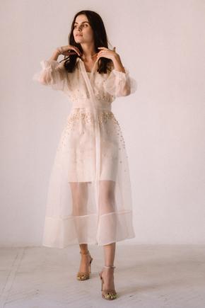Бежеве комбіноване плаття з органзи розшите бісером в прокат и oренду в Киiвi. Фото 2