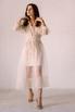 Бежевое комбинированное платье из органзы расшитое бисером в прокат и аренду в Киеве. Фото 2