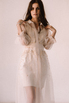 Бежевое комбинированное платье из органзы расшитое бисером в прокат и аренду в Киеве. Фото 3