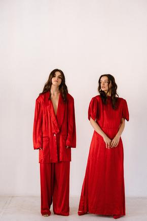Червона шовкова сукня з рукавами буф в прокат и oренду в Киiвi. Фото 2