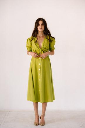 Лаймовому плаття з льону з рукавом буф в прокат и oренду в Киiвi. Фото 2