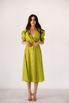 Лаймовое платье из льна с рукавом буф в прокат и аренду в Киеве. Фото 2