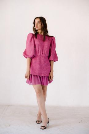 Малинове плаття довжини міні з намистинами в прокат и oренду в Киiвi. Фото 2