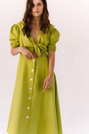 Лаймовому плаття з льону з рукавом буф в прокат и oренду в Киiвi. Фото 1