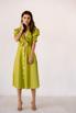 Лаймовое платье из льна с рукавом буф в прокат и аренду в Киеве. Фото 4