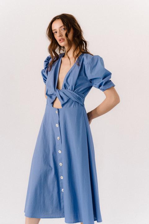 Лиловое платье из льна с рукавом буф