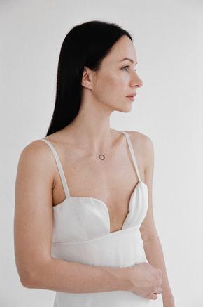 Довга сукня бюст'є молочного кольору з шовковим ліфом в прокат и oренду в Киiвi. Фото 2