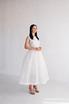 Белое пышное платье из структурированной ткани с воротником из жемчуга в прокат и аренду в Киеве. Фото 2